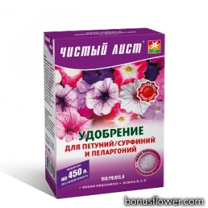 Удобрение «Чистый лист» для петуний/сурфиний и пеларгоний 300 г,  Kvitofor
